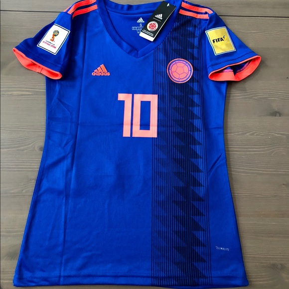huge discount e7195 20d39 Women Blue Colombia James #10 Soccer Jersey adidas NWT
